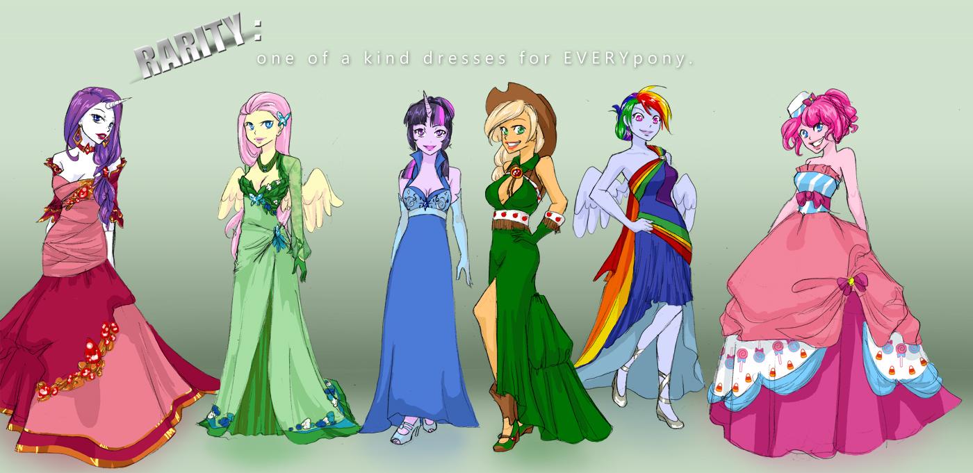 MLP: College AU Gala Dresses by klinanime