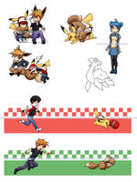 Pokemon:Pikachus and Eevees by klinanime