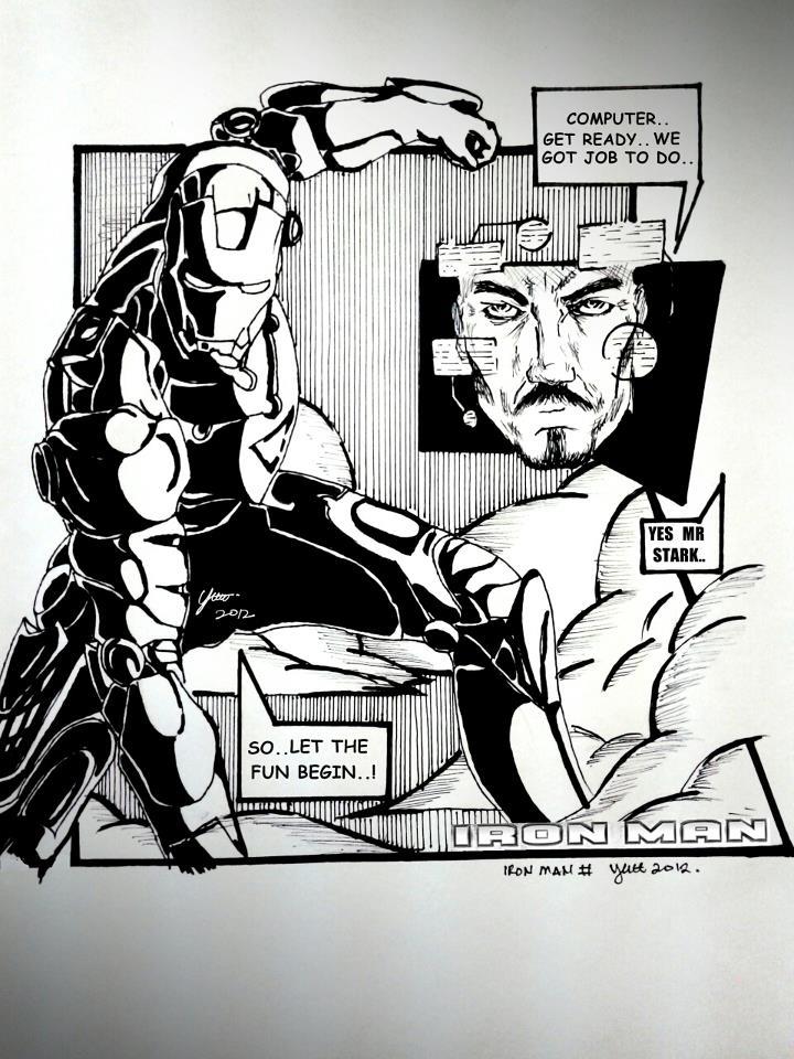 Black Man Ironing Black n White Iron Man by