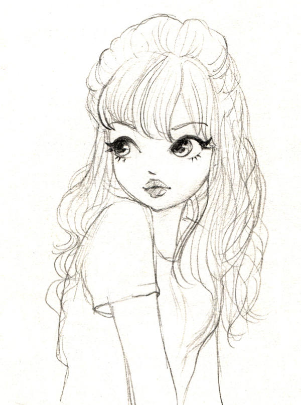 Soft Hair Girl Sketch By Mina K On Deviantart
