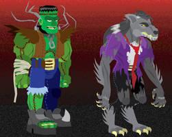 Frankenstein and Wolfman by GabrielChoquette