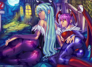 Morrigan y Lilith  (Darkstalkers) FAN ART :D