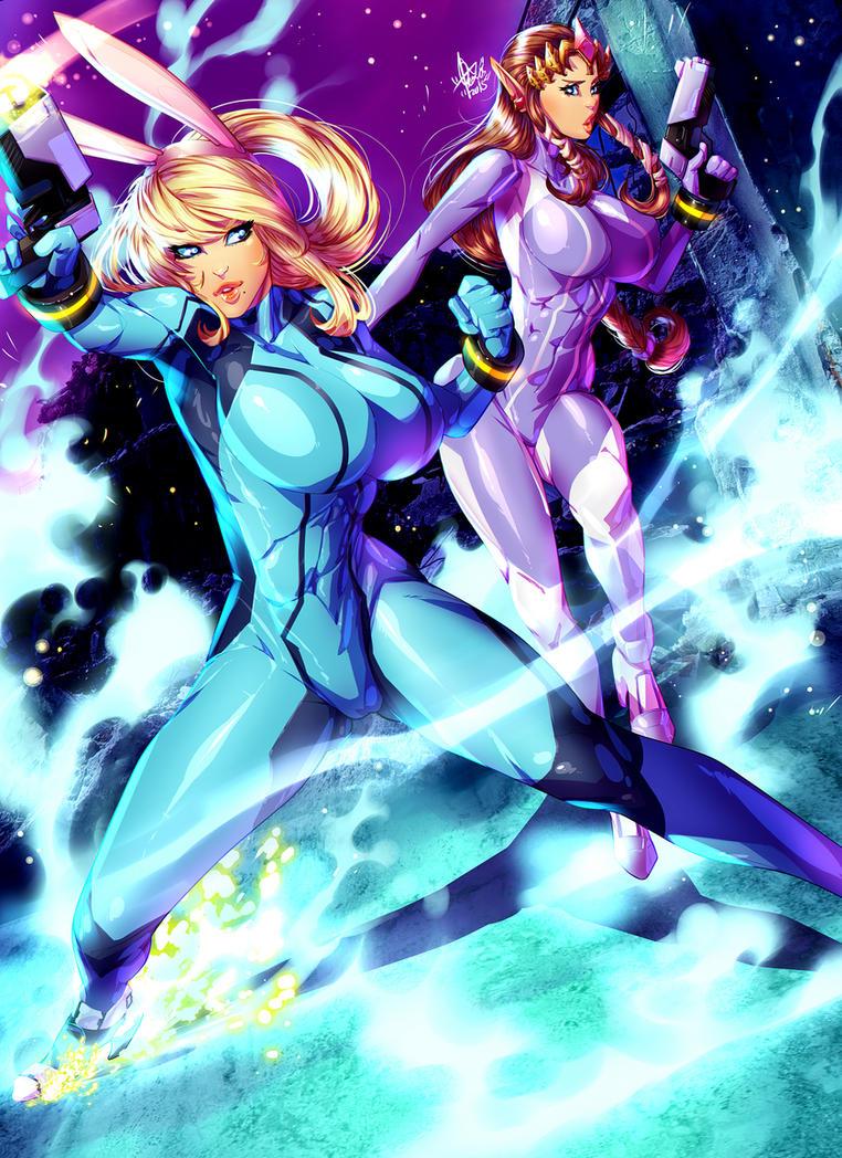 Samus and princess Zelda -zero suit FANART :D by xdtopsu01