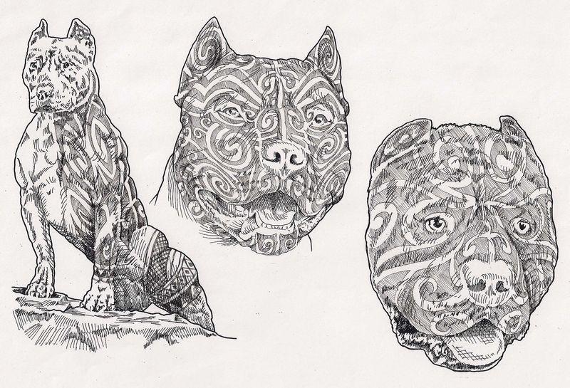 pitbulls with moko by davehortontattoos on deviantart. Black Bedroom Furniture Sets. Home Design Ideas
