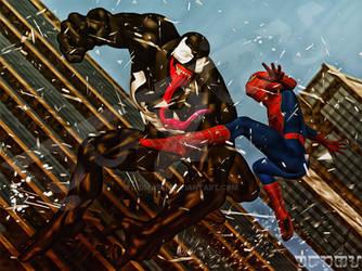 Spider-man/Venom Action commission by giumabei