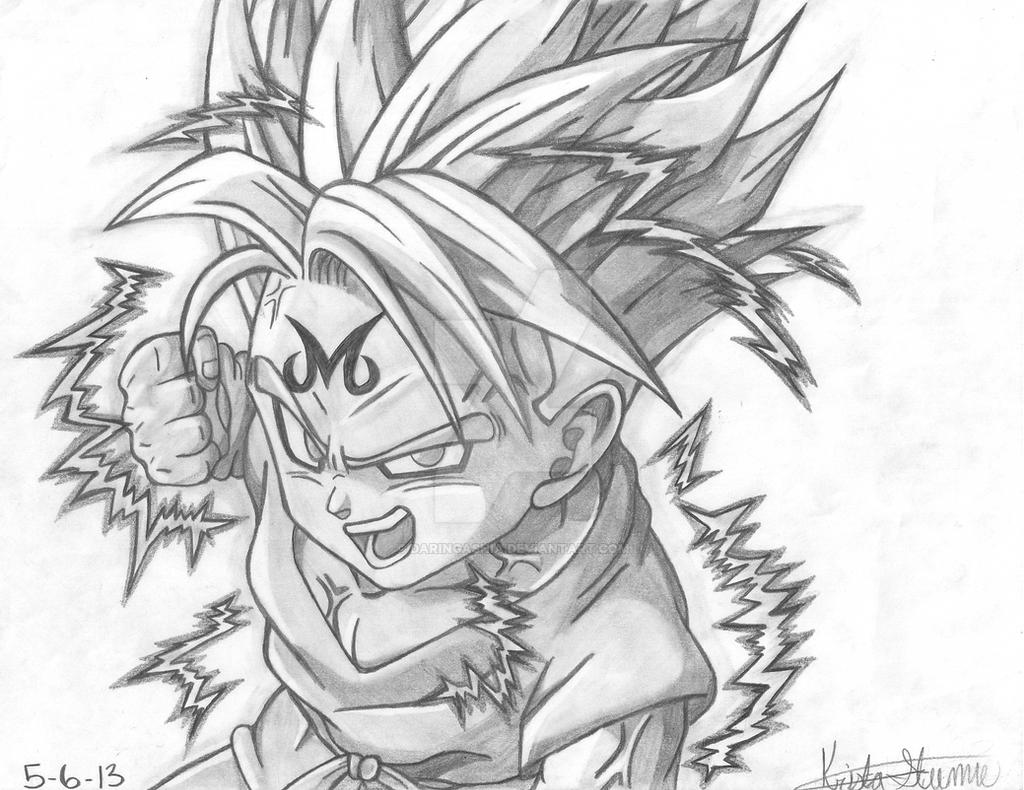 2 0 graphite pencil drawingmajin kid trunks by daringashia