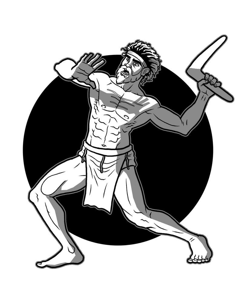 man with boomerang by micma