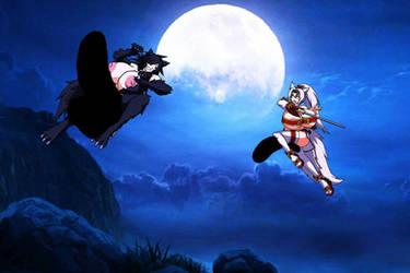 Werewolf Kizami VS Kitsune Manami by KizamiWhiteFang