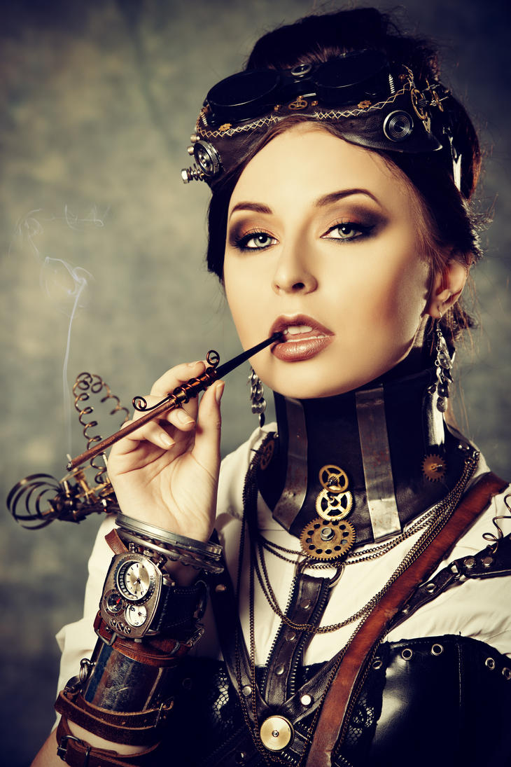 steampunk girl with cigarett by luria xxii on deviantart. Black Bedroom Furniture Sets. Home Design Ideas