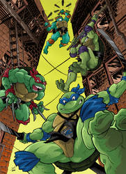 Turtles jumping from the rooftop! - coloured ver. by Joelchan