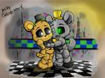 Silver Freddy and Golden Freddy - (Commission) by FallingWaterx