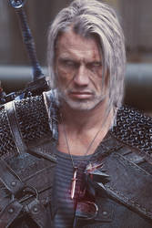 Witcher Geralt/Dolph Lundgren fan art by Tiedash