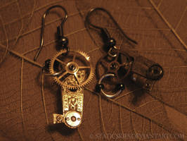 Steam Punk earrings 2 by StaticSkies