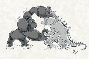 Inktober 2015 Day 16 King Kong VS Godzilla by LeonAnimation