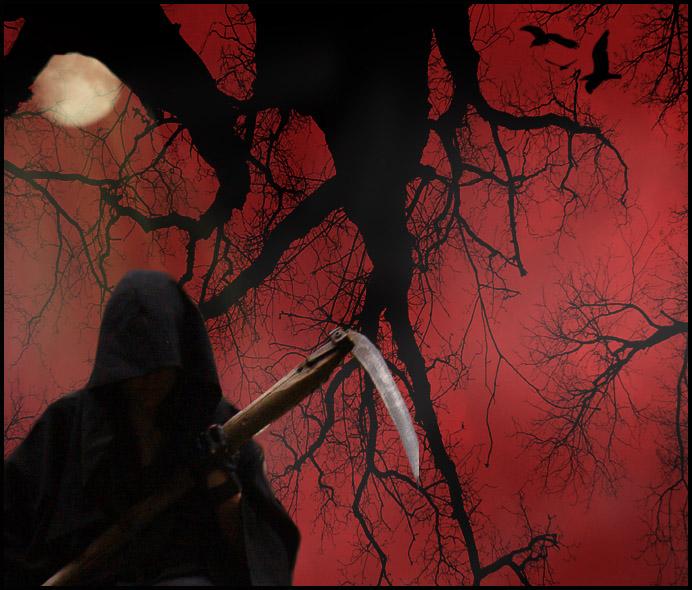 GrimReaper Halloween Wallpaper by Lauraest