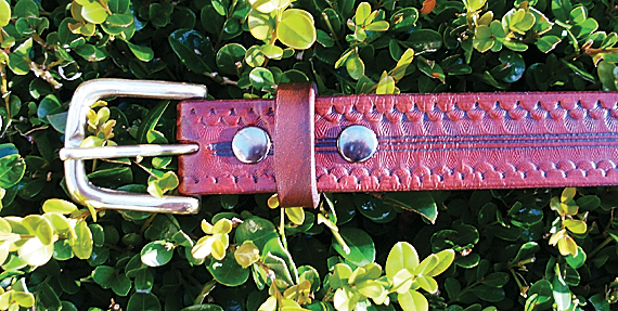 Hand tooled leather belt by cloverpatch