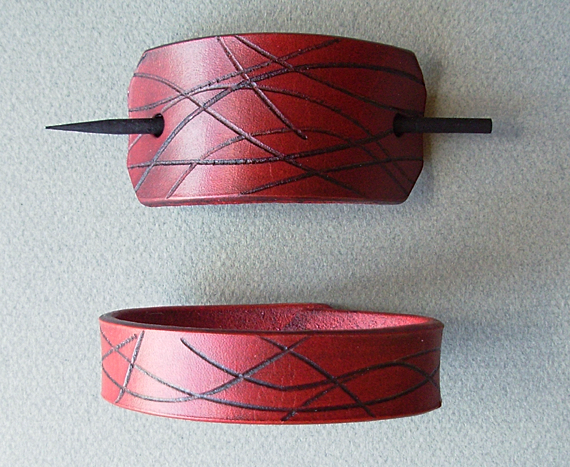Leather Hair Barrette and Bracelet by cloverpatch