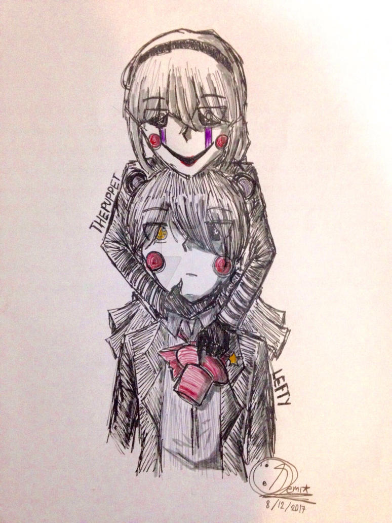 (FNaF)Lefty and The Puppet/Marionette human ver. by DStackNotebookS
