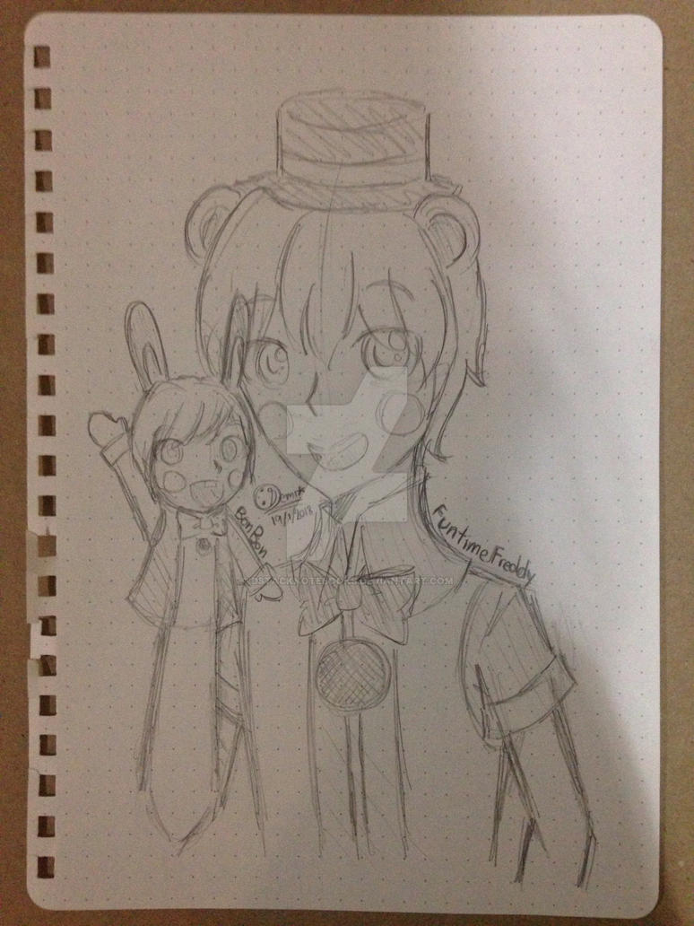[FNAF]Funtime Freddy and BonBon (Sketch) by DStackNotebookS