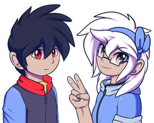 Zander the Riolu and Mizo the Umbreon as Humans by Zander-The-Artist