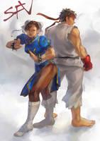 Chun Li and Ryu by crunchynougat