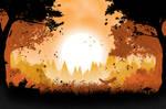 Orange Forest Landscape