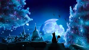 Moon Cat Landscape