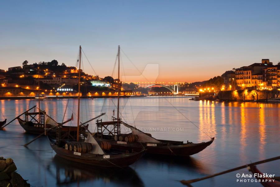 Porto at night by Dinozzaver