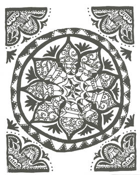 Uncolored adult coloring book page