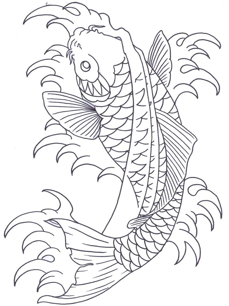 Line Drawing Koi Fish : Koi outline by iamthesorrow on deviantart