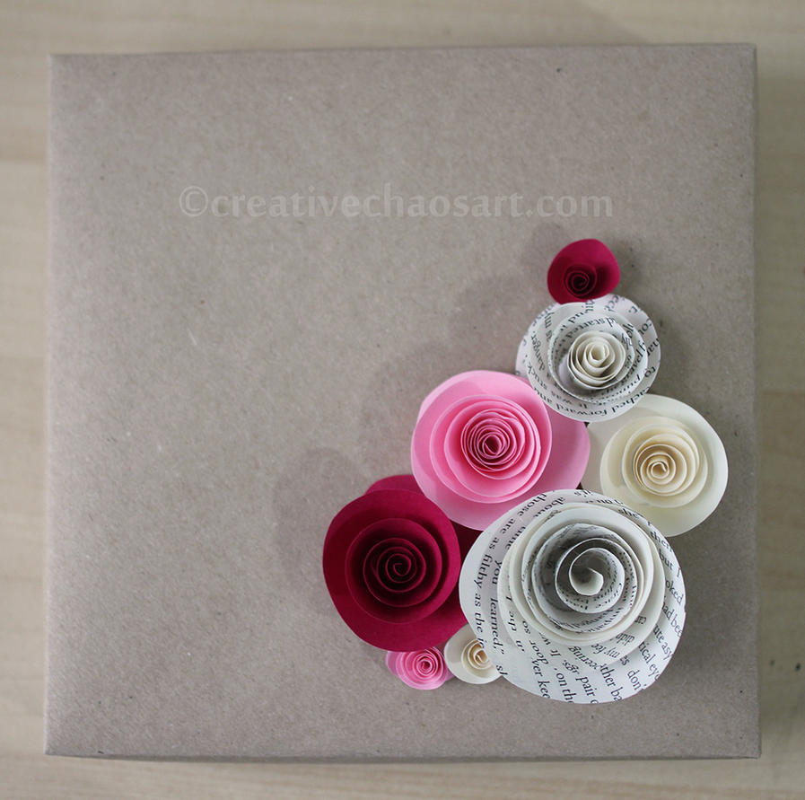 Large Origami Box With Rolled Paper Flowers By Bicyclegasoline On
