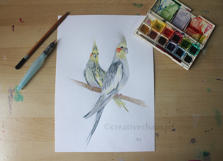 Cockatiels Watercolour by bicyclegasoline