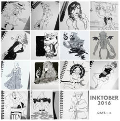Inktober Part 1 by Bucketfox