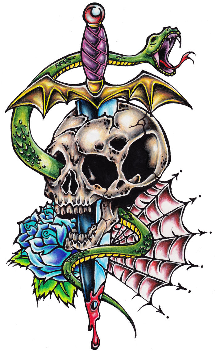 Skull and Dagger Tattoo by OffDWallNotDRack