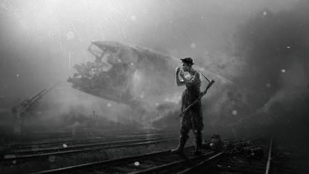 Crash Landing Black n White
