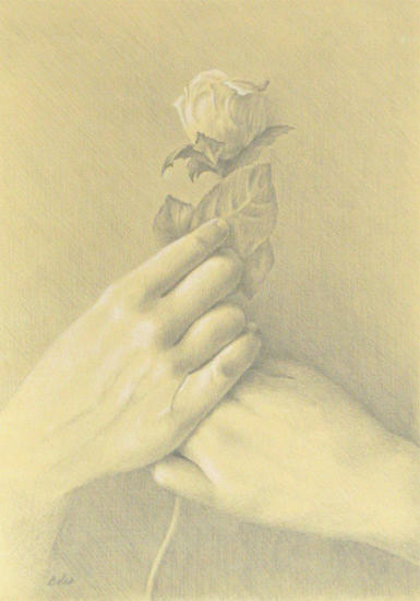 Hands holding a rose by whichwaysup on deviantart for Hand holding a rose drawing