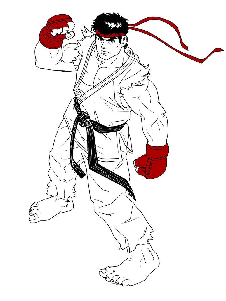 Line Art Limited : Ryu fan line art limited color by hedrus on deviantart