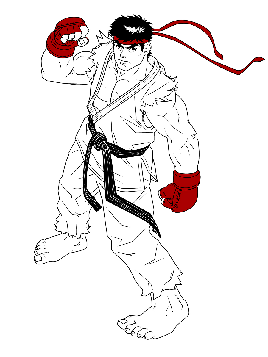 Ryu Fan Line Art Limited Color By Hedrus On Deviantart