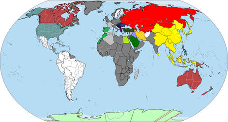 World map on the eve of war on August 1st 1945
