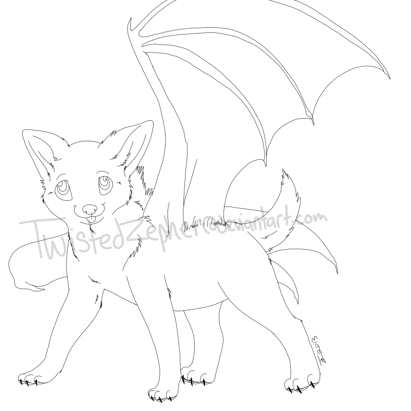 winged wolf pup lineart