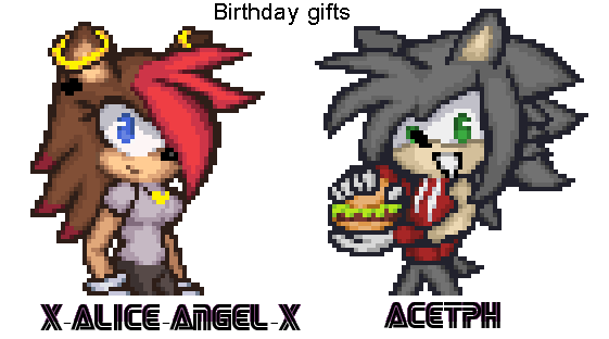 Sonic battle Pixel art : Courtni and Ace by BaysenAhiru427