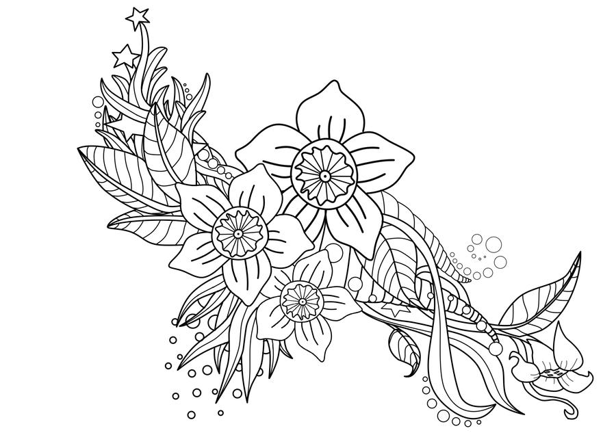 Line Drawing Tattoo Artists : Floral tattoo commission line art by digitalstencil on