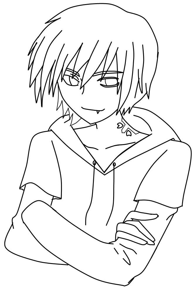 Lineart Anime Boy : Easy demon coloring pages