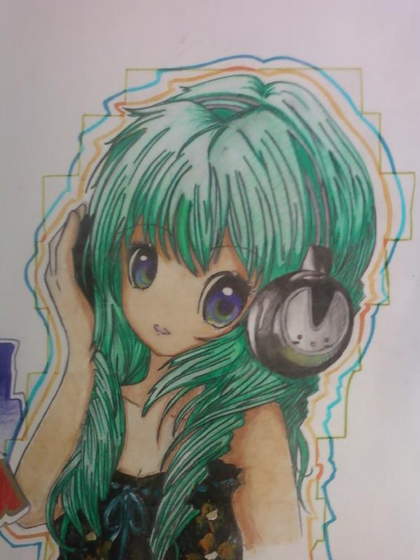 Anime Girl With Headphones By Cxcelia5209 On Deviantart