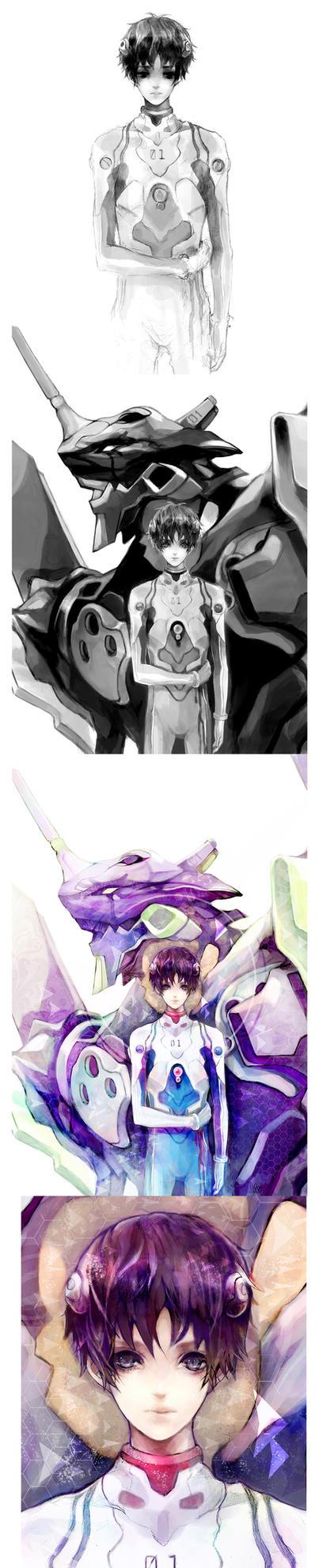 Progress Shots - Shinji by ProdigyBombay