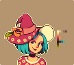 A colorful witch