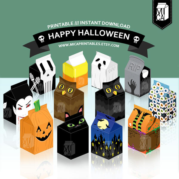 Milk Carton Halloween Crafts Part - 24: Halloween Party Printable - Milk Carton Favor Box By MicaPrintables ...
