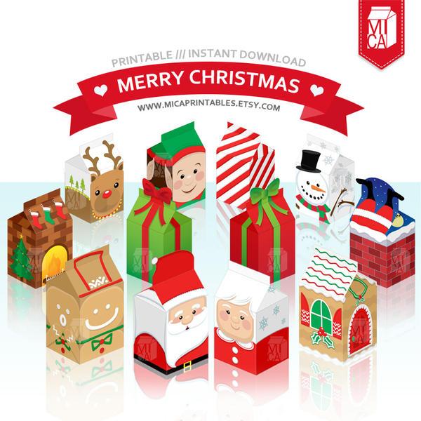 Christmas Party Printable - Milk Carton Favor Box by MicaPrintables ...