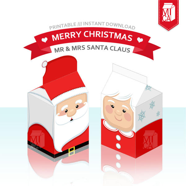 Christmas Party Printable - Santa Claus Gift Box by MicaPrintables on ...