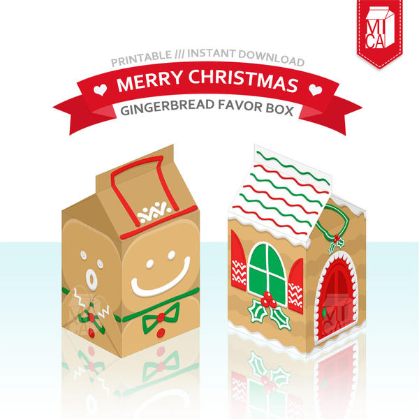 Christmas Party Printable Gingerbread Favor Box By